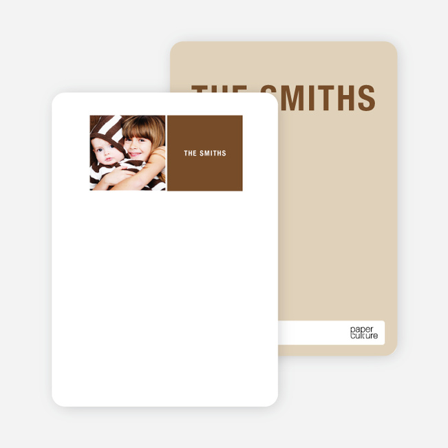 All Square Personalized Photo Note Cards - Mocha