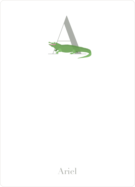Alphabet Animals A Alligator Monogram Stationery - Asparagus