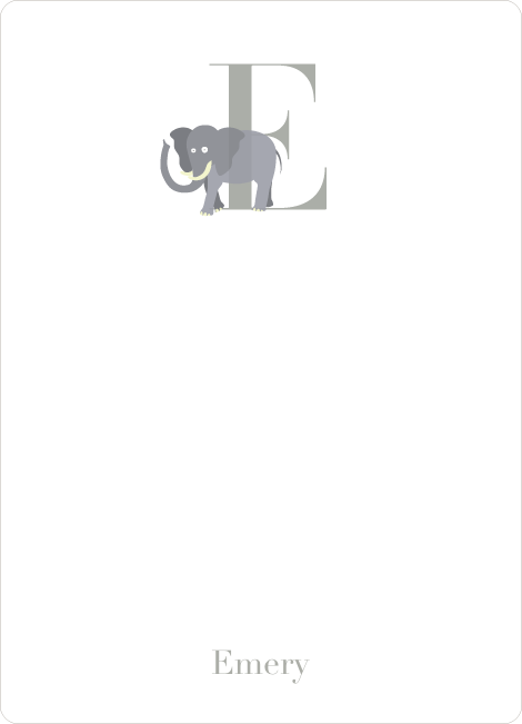 Alphabet Animals E Elephant Monogram Stationery - Silver