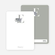 E Elephant Monogram Stationery - Silver
