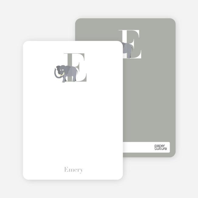 Alphabet Animals E Elephant Monogram Stationery - Silver