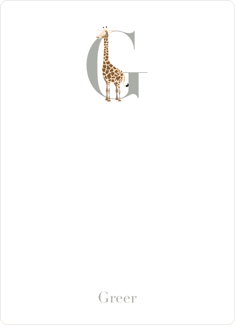 Alphabet Animals G Giraffe Monogram Stationery - Chocolate