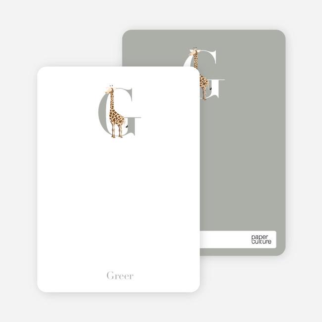 Alphabet Animals G Giraffe Monogram Stationery - Chocolate