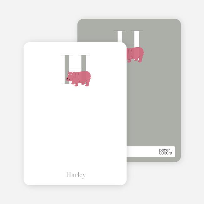 Alphabet Animals H Hippo Monogram Stationery - Rose