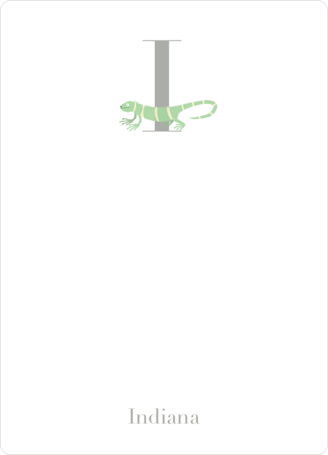 Alphabet Animals I Iguana Monogram Stationery - Lemongrass