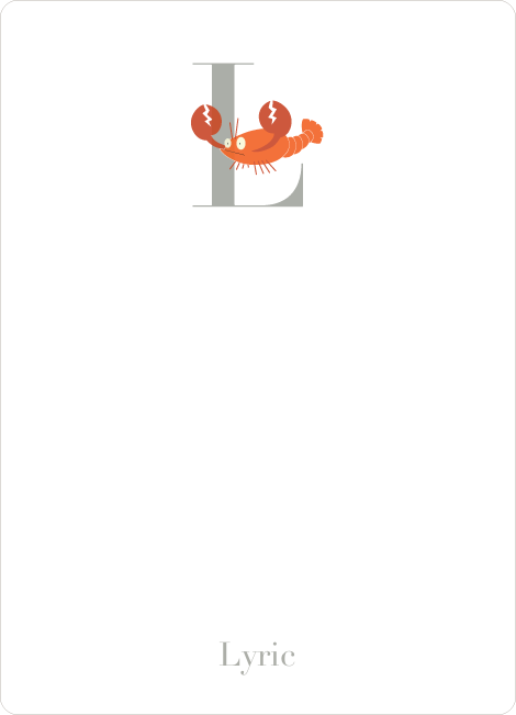 Alphabet Animals L Lobster Monogram Stationery - Carrot Orange