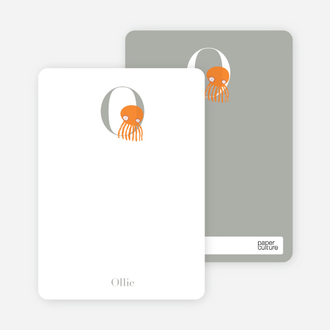 Alphabet Animals O Octopus Monogram Stationery - Carrot Orange