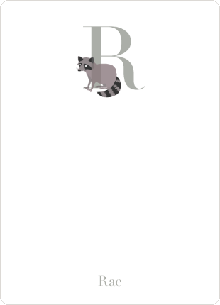 Alphabet Animals R Raccoon Monogram Stationery - Mauve