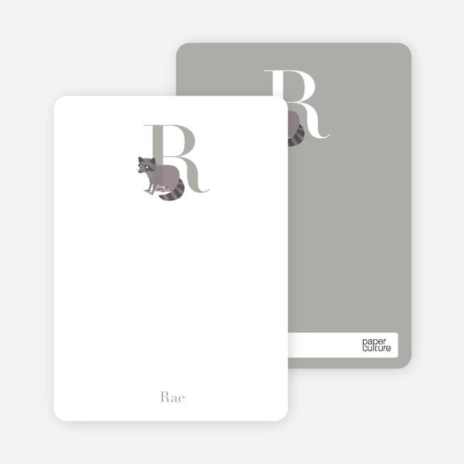 Alphabet Animals R Raccoon Monogram Stationery - Mauve