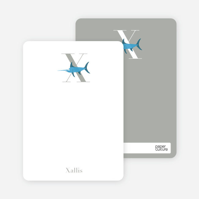 Alphabet Animals X Xwing Monogram Stationery - Royal Blue