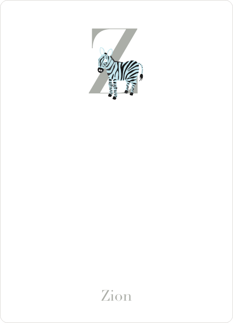 Alphabet Animals Z Zebra Monogram Stationery - Azure