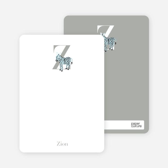 Alphabet Animals Z Zebra Monogram Stationery - Azure