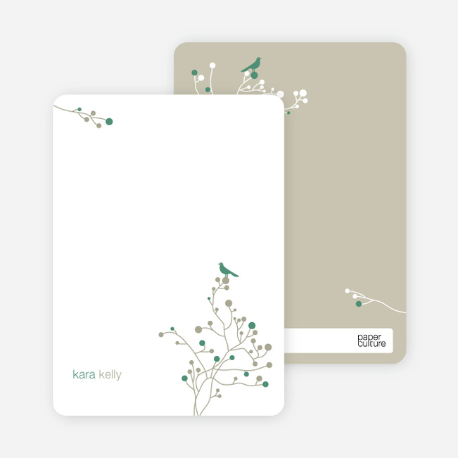 Bird Branch Personalized Stationery - Pine