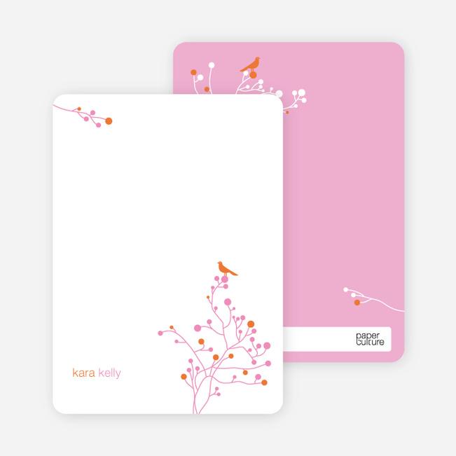 Bird Branch Personalized Stationery - Papaya