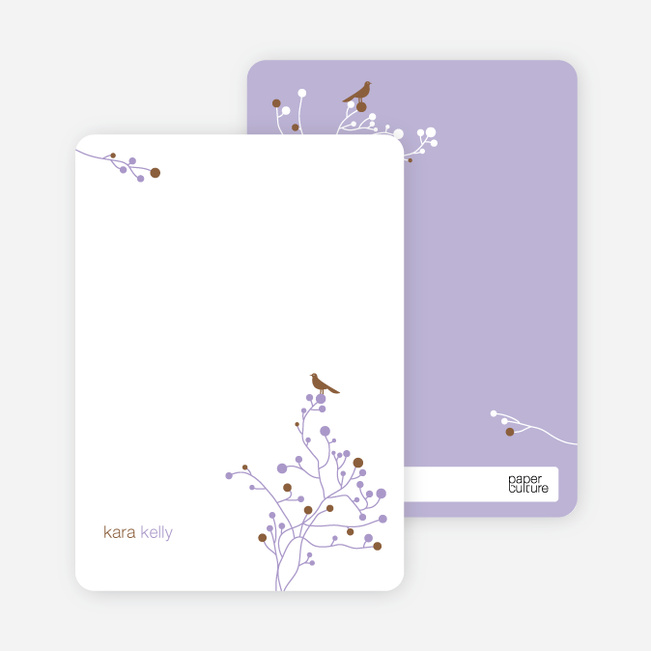 Bird Branch Personalized Stationery - Cocoa