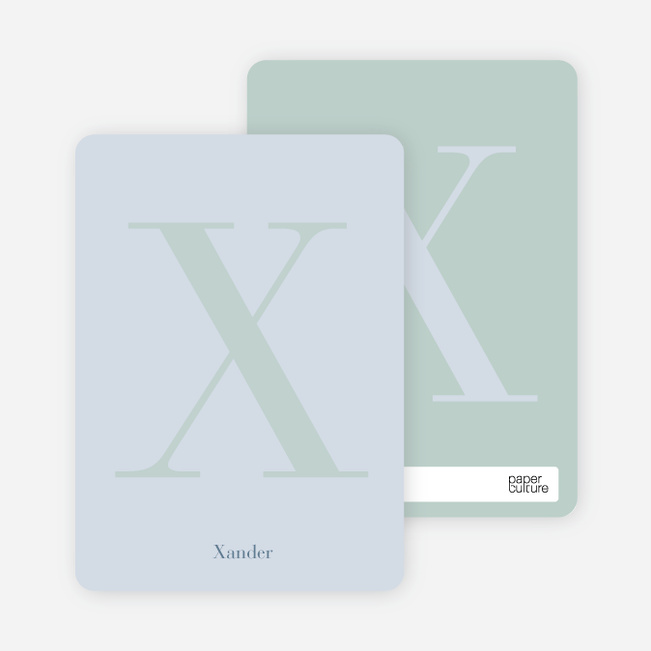 Distinct Letters Personalized Note Cards - Powder Blue