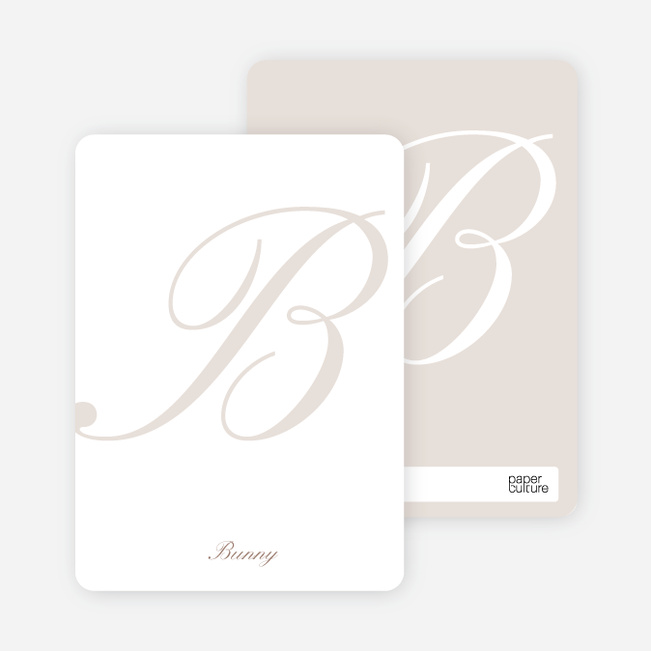 Elegant Letters Personalized Note Cards - Alabaster