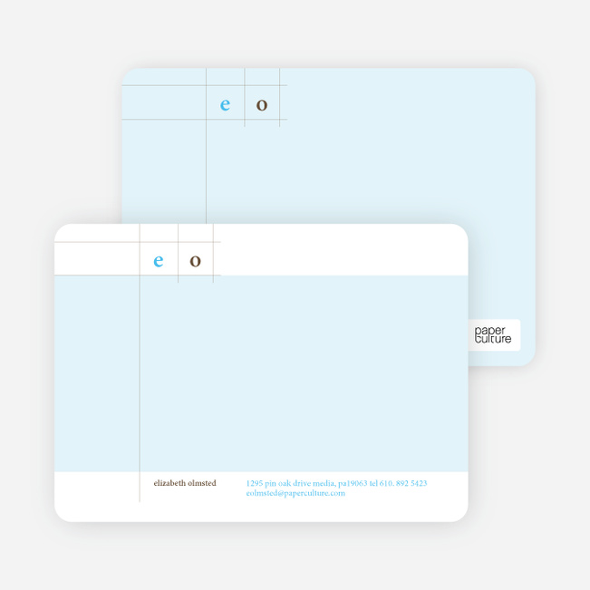 Modern Lines Note Cards for Both Professional and Personal Use - Sky Blue
