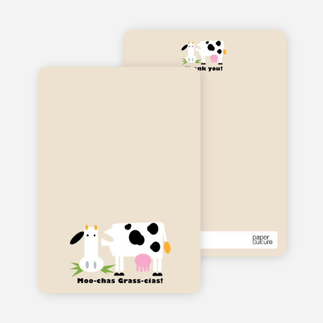 Moo–chas Grass–cias Cow Stationery - Ecru