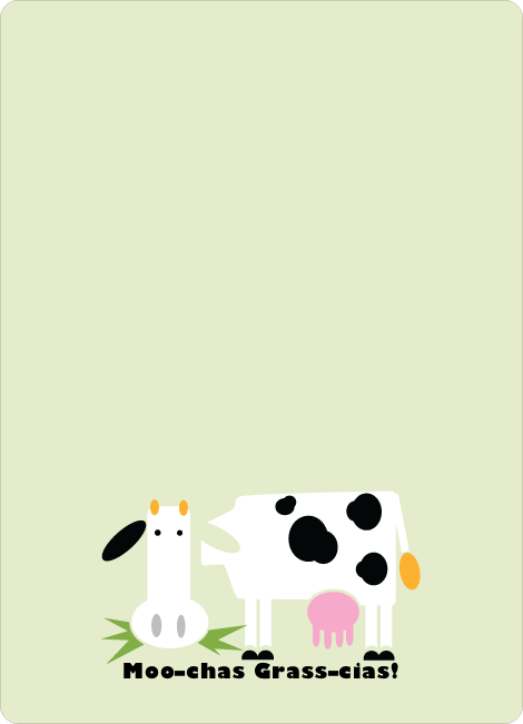 Moo–chas Grass–cias Cow Stationery - Honeydew