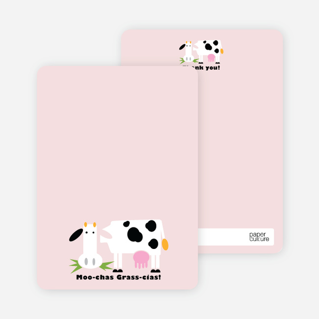 Moo–chas Grass–cias Cow Stationery - Blush