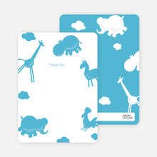 Animal Downpour Note Cards - Cornflower Blue