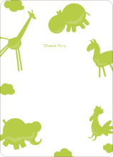 Animal Downpour Note Cards - Celery