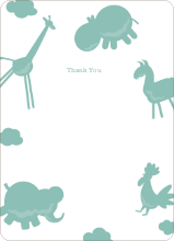 Animal Downpour Note Cards - Celadon