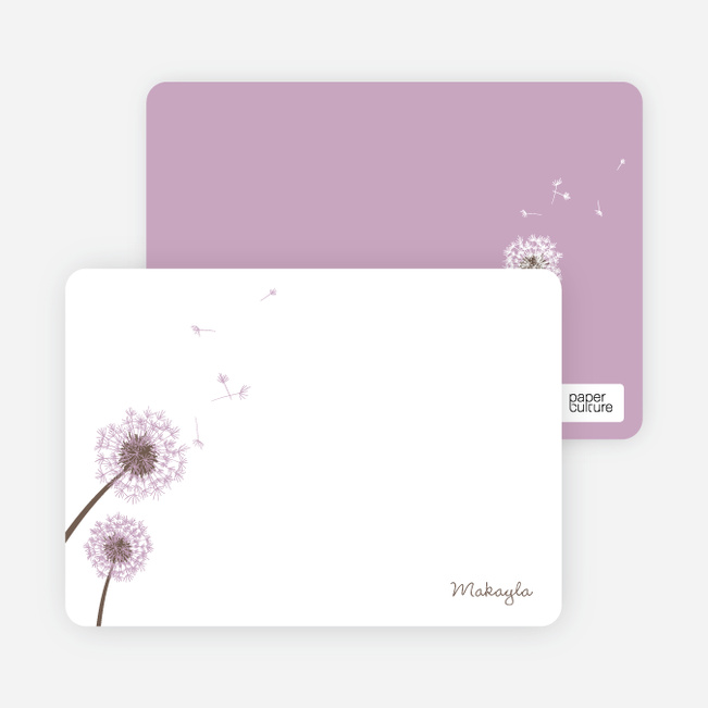 Note Cards: 'Classic Dandelions' cards. - Lavender