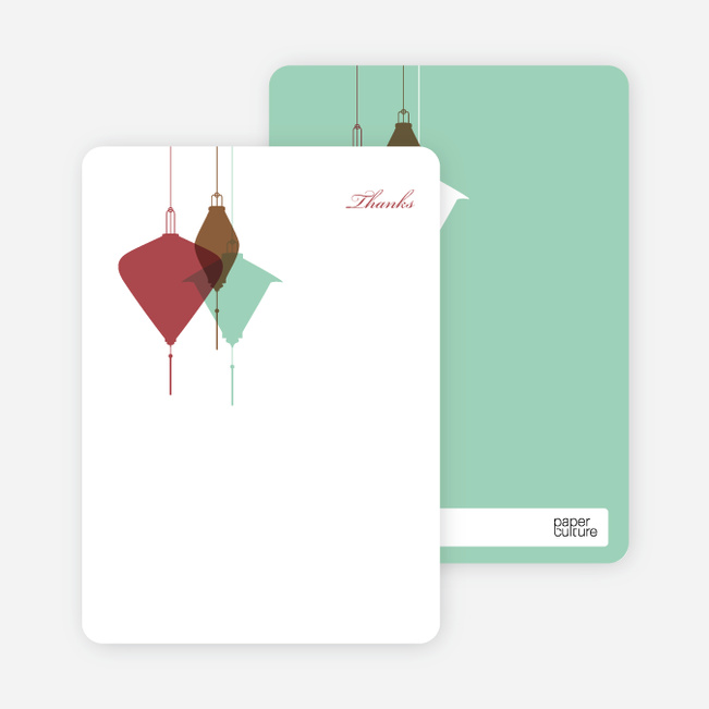 Note Cards: 'Lantern Lights Bridal Shower' cards. - Maroon