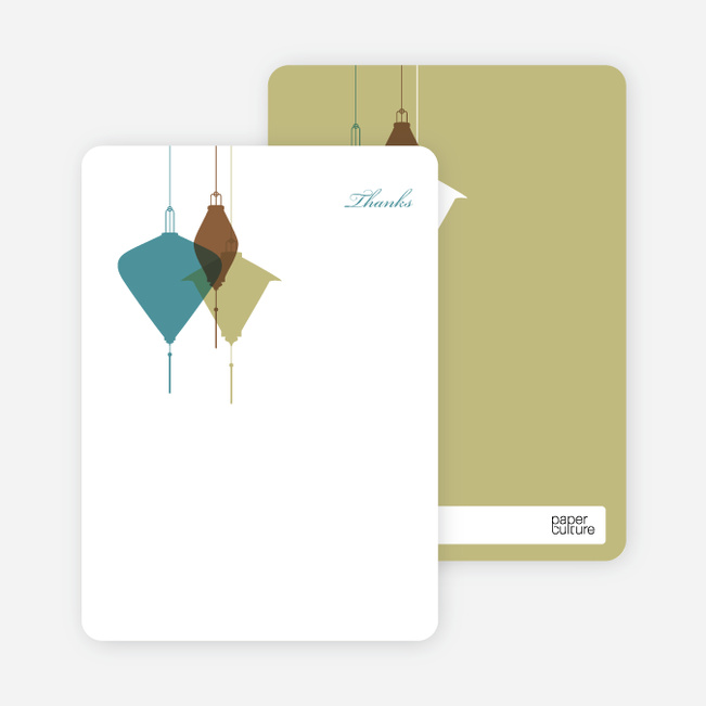 Note Cards: 'Lantern Lights Bridal Shower' cards. - Teal