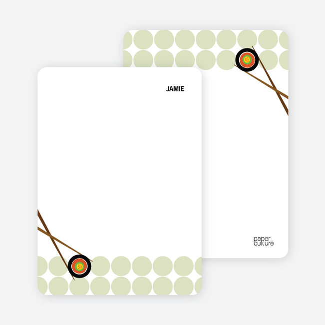 Note Cards: 'Sushi Party Yummm!' cards. - Bamboo