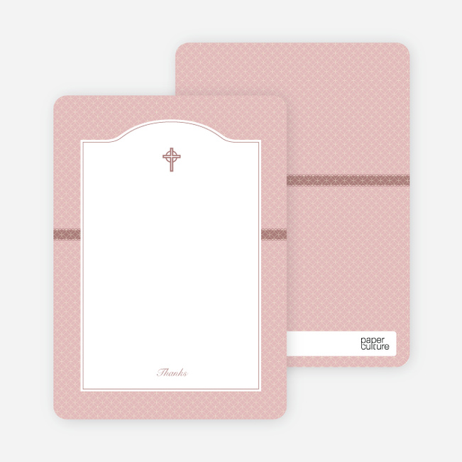 Note Cards: 'Truly Traditional Baptism Invitation' cards. - Pink