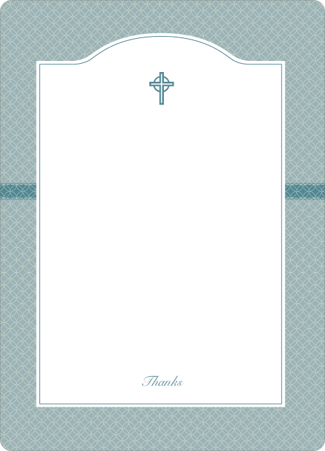 Note Cards: 'Truly Traditional Baptism Invitation' cards. - Blue Green