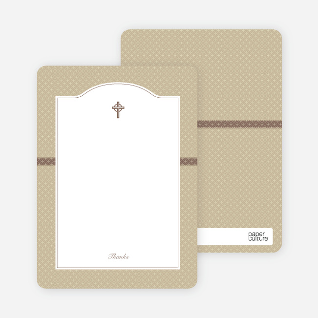 Note Cards: 'Truly Traditional Baptism Invitation' cards. - Beige