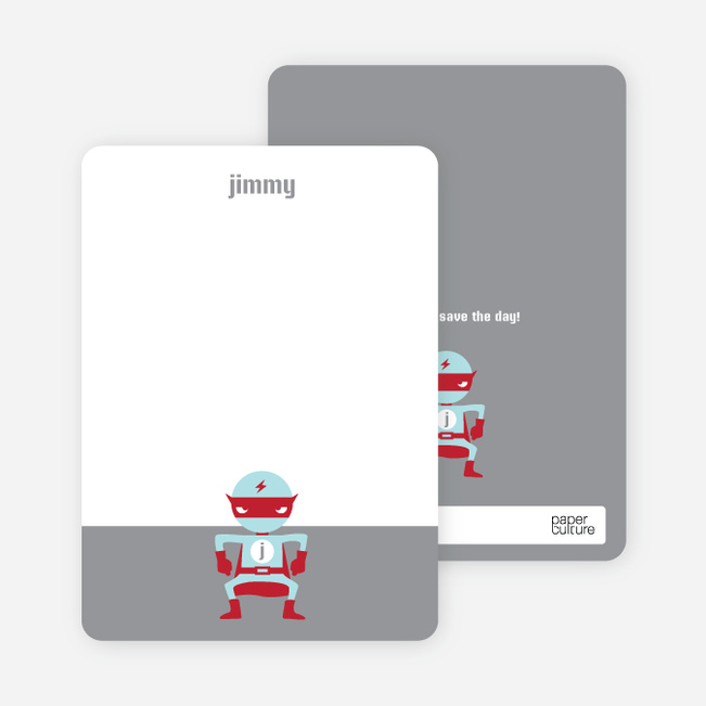 Notecards for the 'Red Avenger Returns' cards. - Silver
