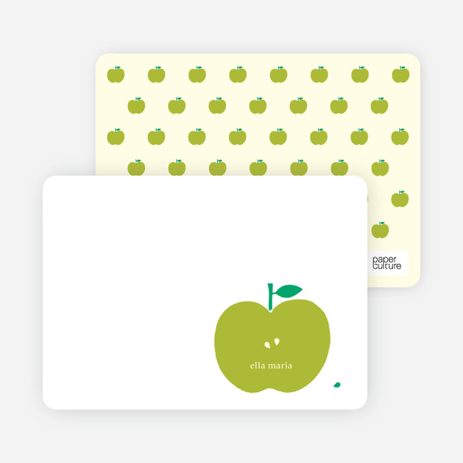 Personal Stationery for Appleseed Winks Modern Baby Announcement - Chartreuse