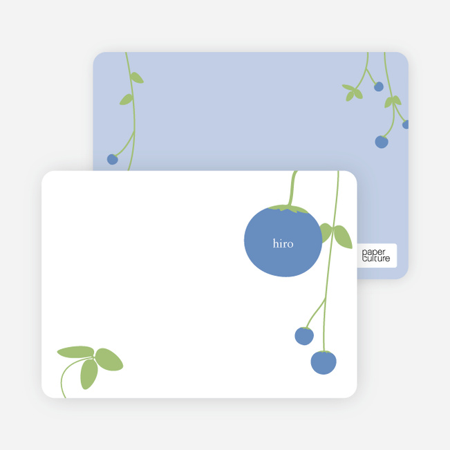 Personal Stationery for Blueberry Modern Baby Announcement - Cobalt