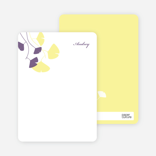 Personal Stationery for Bridal Shower Invitations: Leaves - Lemon Chiffon
