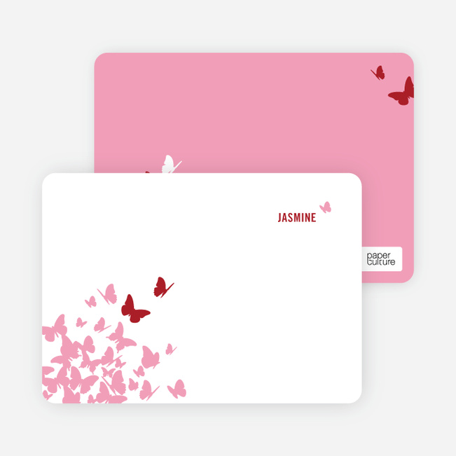 Personal Stationery for Flying Butterfly Modern Birthday Invitation - Maroon