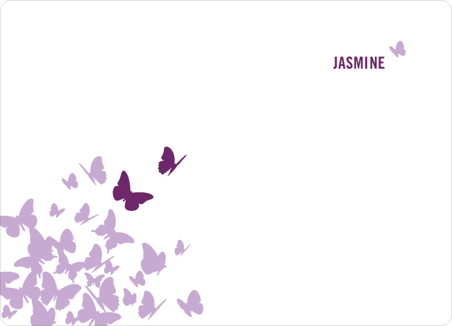 Personal Stationery for Flying Butterfly Modern Birthday Invitation - Magenta