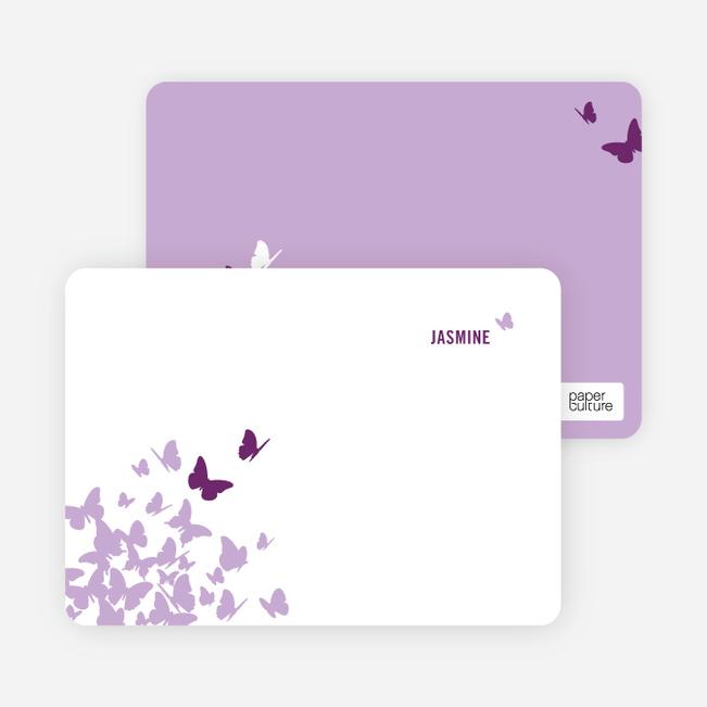 Personal Stationery for Flying Butterfly Modern Birthday Invitation - Magenta