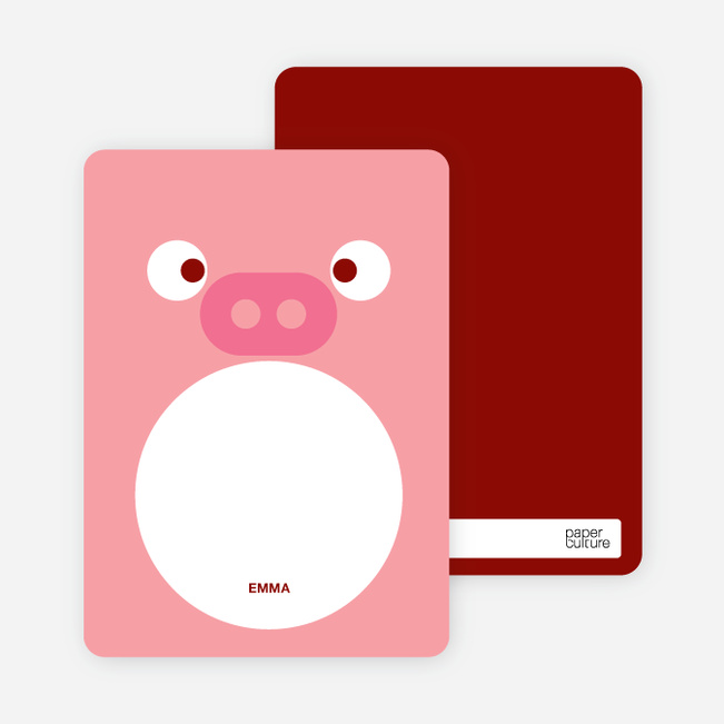 Personal Stationery for Little Piggy Birthday Invitation - Salmon