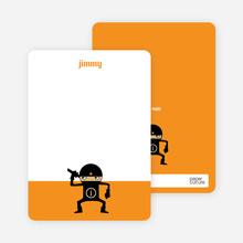 Personal Stationery for Modern Ninja Kids Birthday Invitation - Tangerine