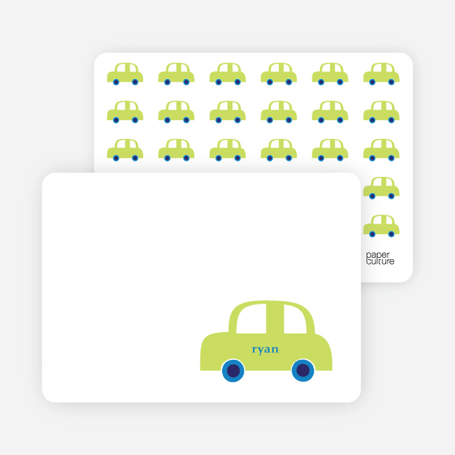 Personal Stationery for Not-So-Ferrari Like Car Baby Announcement - Neon Green