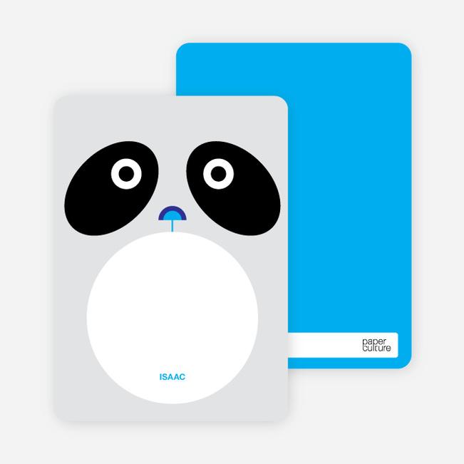 Personal Stationery for Panda Birthday Invitation - Light Silver