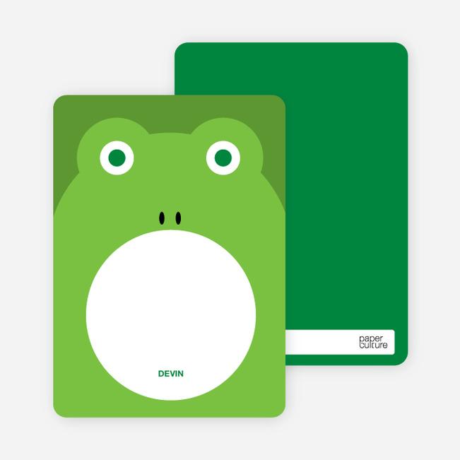 Personal Stationery for Ribbit Frog Modern Birthday Invitation - Shamrock