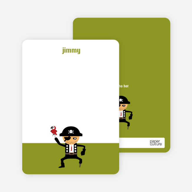 Personal Stationery for Shiver Me Timbers Pirate Birthday Invitation - Olive