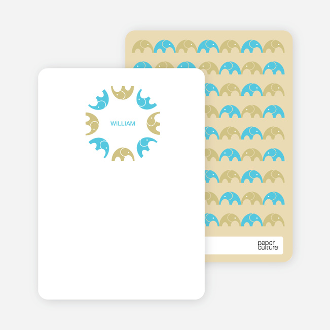 Personal Stationery for Simply Photos: Find the Elephant Modern Baby Announcement - Champagne