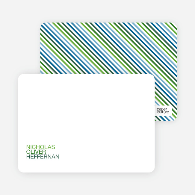 Personal Stationery for Simply Photos: 'Nounced Modern Baby Announcement - Apple Green